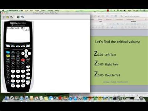 How to find the Z critical values in the calculator ti-84