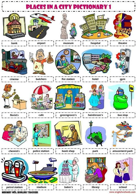 Places in a city pictionary | Teachin' English | Pinterest