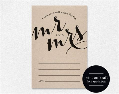 Wedding Well Wishes for Mr and Mrs Card Printable Template