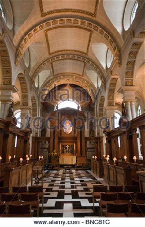 Interior of the Temple Church, City of London, England in