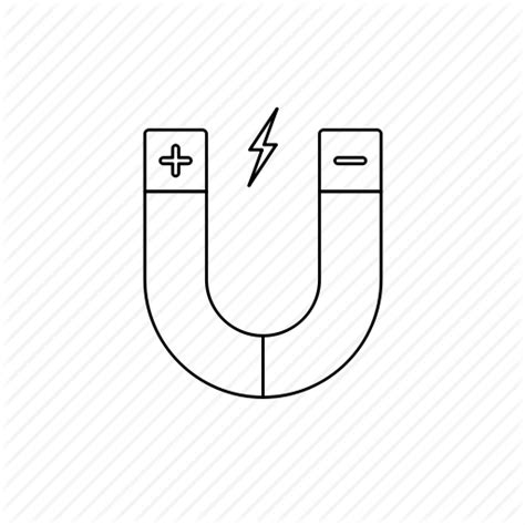 Attraction, magnet, outline, physics icon