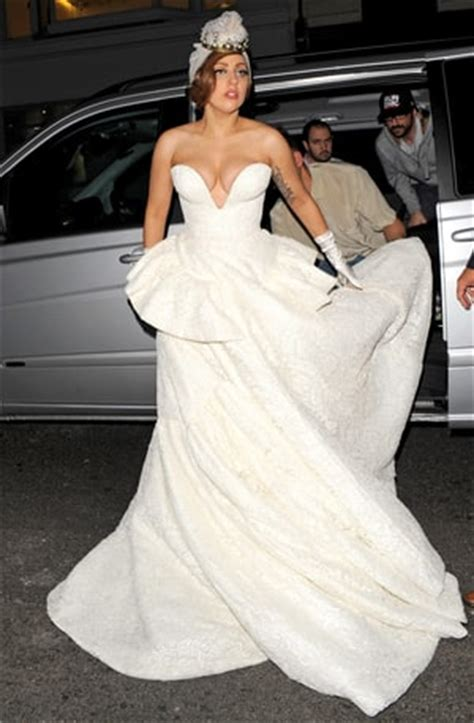 PIC: Lady Gaga Steps Out in Wedding Dress, Flashes